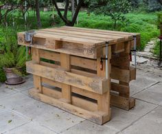Pallet table - needs 3 pallets.  Check craigslist for free pallets.
