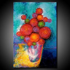 ORIGINAL Flowers Painting Textured Modern 24x36 by FariasFineArt, $300.00
