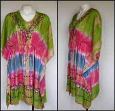 Plus Size HIPPIE Tie Dye FESTIVAL Kaftan TUNIC Top/Dress