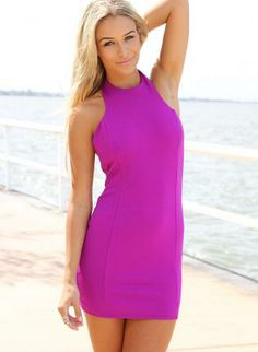 Purple+Halter+Bodycon+Dress+with+Open+Back+Detail,++Dress,+bodycon+dress++mini++halterneck,+Chic