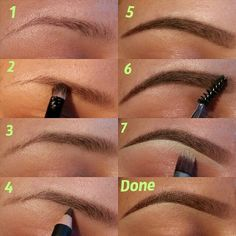I don't have much to work with..but @anastasiabeverlyhills products work wonders for me Step1. Comb eyebrows Step2. With a stiff pencil brush, I apply Anastasia's duo brow powder in medium brown. Step3. It should look like this. Step4. With Anastasia's perfect brow pencil in dark brown, I fill in the end of my brow and all sparse areas, shaping my eyebrows. Step5. It should look like thi…