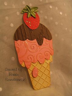 Ice cream cone from Sweet Treats cartridge, page 34 and 4 different embossing folders