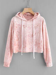 Trendy Velvet crop hoodie sweatshirt