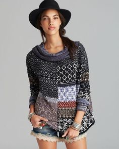 Free People Pullover Patchwork Sweater