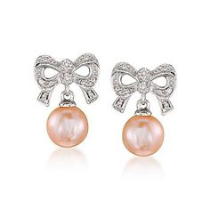 Ross-Simons - 8mm Pink Cultured Pearl With Diamond Earrings in Sterling Silver - #693541