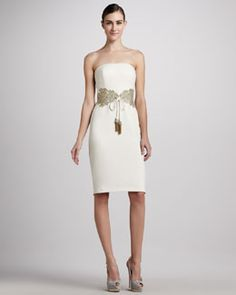 T5XUE Badgley Mischka Collection Embellished Tie-Waist Cocktail Dress