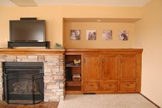 Awesome DIY Fireplace Built-ins, before and after