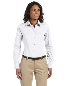 3237e713 Essential Poplin in White, add company logo Harriton Essential Poplin.  Women's Fashion Outfits