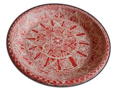 Mithila / Madhubani Painting Motifs on Round Terracotta Plate in Red and White  Base: Terracotta Plate  Paint: Acrylic  Mode: Handmade Painting  Artist : Nupur Nishith