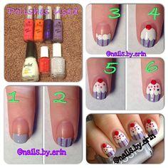 Cupcake nail art tutorial! Diy Nails, Cute Nails, Cupcake Nail Art, Nails Decoradas, Pretty Nail Art, Creative Nails, Cool Nail Designs, Nail Tutorials, Simple Nails