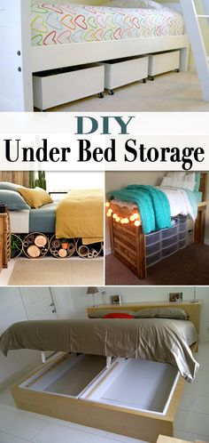 The best DIY projects & DIY ideas and tutorials: sewing, paper craft, DIY. Best Diy Crafts Ideas For Your Home DIY Under Bed Storage • When storage is tight, use these creative solutions to organizing your home right! Diy Storage Bed, Bedroom Storage, Storage Ideas, Bedding Storage, Ikea Under Bed Storage, Storage Cart, Creative Storage, Hidden Storage, Storage Boxes