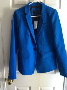 J Crew Women's Tall Regent Blazer Linen Size 6T Blue C0544 Casual Jacket | eBay