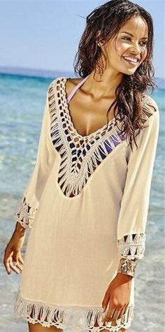 b1b1c468c4be0 Knitting Beach Hollow Out Hand Hook Flower Long Sleeve Cover Ups Bathing  Suit Covers