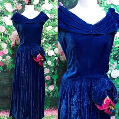 A personal favorite from my Etsy shop https://www.etsy.com/listing/537991733/vintage-40s-blue-velvet-tea-length