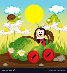 ladybug cartoon: ladybug car from leaf - vector illustration, eps Illustration Ladybug Rocks, Ladybug Art, Ladybugs, Kids Background, Cartoon Background, Ladybug Cartoon, Cartoon Kids, Good Morning Cartoon, Frosch Illustration