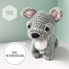 "Excited to share this item from my #etsy shop: AMIGURUMI PATTERN/ tutorial (English) Amigurumi French Bulldog - ""Louie the French Bulldog Puppy"" pdf - US terminology Amigurumi Patterns, Crochet Patterns, Amigurumi Tutorial, Crochet Ideas, Knitting Patterns, Scottish Terrier, Boston Terrier, Yarn Dolls, Crochet Abbreviations"