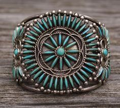 Old Vintage Zuni Needlepoint Turquoise Cluster Sterling Silver Cuff Bracelet