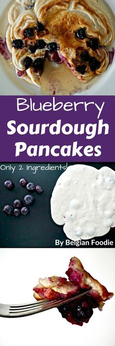 Blueberry Sourdough Pancakes can be prepared in minutes with only 2 Ingredients!  No eggs, No Dairy.  Entirely VEGAN! Great use of extra sourdough starter. #sourdough #pancakes #vegan #vegetarian #dairyfree #lactosefree #breakfast #easymeals #healthyfood #healthy #belgianfoodie