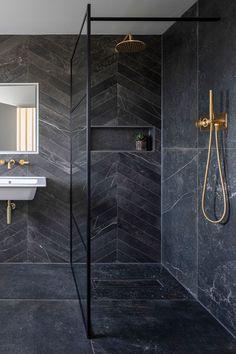Make a statement with our Fusion Black Matt Porcelain Tile, a beautiful tile that's modern & traditional. Order a free sample of this black porcelain tile. Bathroom Design Luxury, Modern Bathroom Decor, Bathroom Trends, Bathroom Designs, Bathroom Ideas, Stone Bathroom, Small Bathroom, Master Bathroom, Black Marble Bathroom