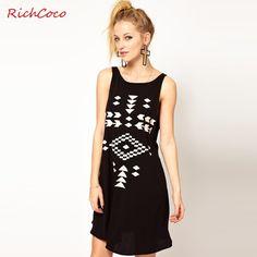 Richcoco fashion brief geometric patterns graphic print o-neck loose tank dress fashion women 2014 clothes US $21.76