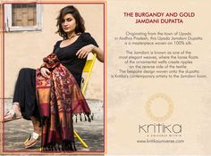 THE BURGANDY AND GOLD JAMDANI DUPATTA. This Upada Jamdani Dupatta is a masterpiece woven on 100% silk. The Jamdani also known as one of the most elegant weaves, where the loose floats of the ornamental wefts creates ripples on the reverse side of the textile. The bespoke design woven onto the dupatta is Kritika's contemporary artistry to the Jamdani loom. Connect on +91 9820530692 / 9820530664 or mail on sonal@kritikauniverse.com #kritikauniverse #burgandy #gold #jamdani #silk #dupatta