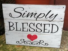 Simply blessed rustic wood sign rustic home decor pallet sign family sign picture wall sign Love Wood Sign, Wood Pallet Signs, Diy Wood Signs, Rustic Wood Signs, Rustic Wall Decor, Wood Pallets, Wall Signs, Pallet Art, Wood Block Crafts