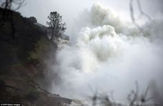 Oroville Dam, California. Raging: The water level dropped Monday behind the dam, reducing the risk of a catastrophic spillway collapse and easing fears that prompted the evacuation of nearly 200,000 people downstream