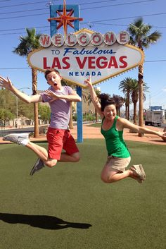 Jumping photo at the Las Vegas sign - a must do
