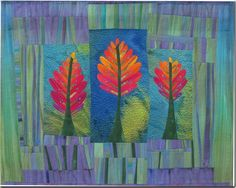 Winter Forest Frieda Anderson; hand dyed fabric, fused, machine quilted