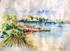 Aquarelle Originale Dam Domido Six Fours les Plage..  Akoun watercolor