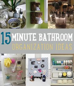 15 Minute Bathroom Organization Ideas (Notice the tarnished {?} silver tray to corral some bathroom items. Pretty!)