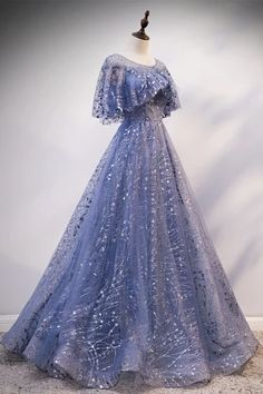 May 2020 - Vintage Style Sparkling, Lace-up Bodice Blue Evening Gown (Custom Fit) – A Lark And A Lady Pretty Prom Dresses, Prom Dresses With Sleeves, Ball Dresses, Elegant Dresses, Nice Dresses, Evening Gowns With Sleeves, Princess Prom Dresses, Dresses With Capes, Prom Dress Long