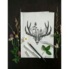 #blackandwhite#deer#draw#drawing#flowers