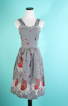 black and white gingham dress with red roses from Etsy