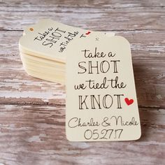 Take a Shot We Tied The Knot Tag, Mini Liquor Bottle Tag, Wedding Tag, Bridal Shower Tag, Shot Glass Tag, Wedding Favor, Party Favor (061)