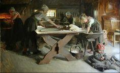 Baking bread (Anders Zorn). Mora, Sweden. 19th century.