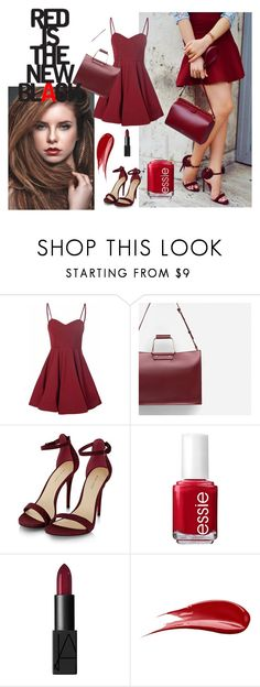 """""""red is the new black !"""" by harisberba ❤ liked on Polyvore featuring Glamorous, Zara, Essie, NARS Cosmetics and Hourglass Cosmetics"""