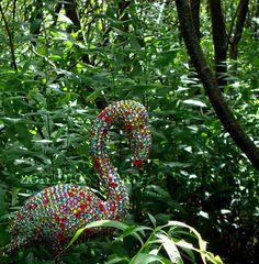 Rhinestone Flamingo- a little fun for your garden. #garden #flamingo