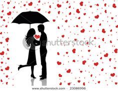 stock vector : Silhouettes of man and woman standing and hugging. Man holding an umbrella. Raining hearts.