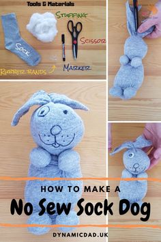Make your very own no sew sock dog with just a few simple materials and a little time & imagination! This craft activity is ideal for sharing with the kids. Babysitting Activities, Elderly Activities, Craft Activities, Therapy Activities, Camping Toys, Camping Crafts, Sewing Stuffed Animals, Stuffed Animal Patterns, Sock Animals