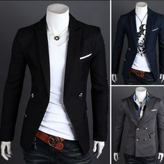 1c0a54b34b24 Turn-Down Collar Flap Pocket Long Sleeve Double Breasted Blazer For Men