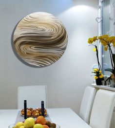 Amazon.com: Mesmerizing Silver & Brown Circle Modern Abstract Hand-Made Metal Wall Art - Home Accent, Home Decor, Circular Wall Painting - Aurora Stream Brown by Jon Allen: Kitchen & Dining