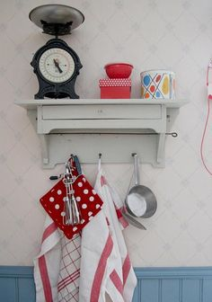 shelf - love this antique scale.  could have the pie plate beside