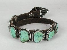 Hand made Native American Indian Jewelry; Navajo Sterling Silver turquoise conch...