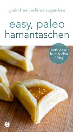 Easy paleo hamantaschen cookies are perfect for a fun and healthy Feast of Purim celebration! With only a few grain-free ingredients filled with jam and sweetened with honey they're a treat that's sure to become a favorite. Cookies Sans Gluten, Dessert Sans Gluten, Paleo Cookies, Gluten Free Desserts, Paleo Dessert, Real Food Recipes, Cookie Recipes, Dessert Recipes, Yummy Food