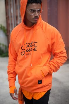 Sixth June raglan hoodie logo orange | SIXTH JUNE officiel