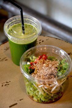 kelp noodle salad & revitalizing green juice #rawfood