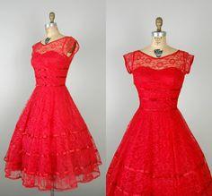1950s Red Lace Dress / Vintage Party Dress by DalenaVintage,