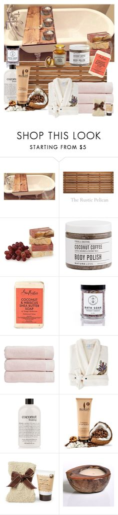 """""""Coconut bath"""" by joyfulmum ❤ liked on Polyvore featuring beauty, Christy, Yves Delorme, philosophy, Tuscan Hills, Zodax and Paddywax"""