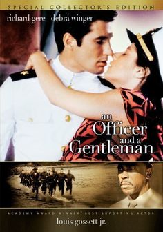 """An Officer and a Gentleman"" (1982). A young man must complete his work at a Navy Flight school to become an aviator, with the help of a tough gunnery sergeant and his new girlfriend.  Thoroughly enjoyed this movie.  Debra Winger and Richard Gere ""made"" it. An Officer And A Gentleman, Cool Things To Buy, Stuff To Buy, Funeral, Debra Winger, Weddings, Wedding Decorations, Baseball Cards, Night"